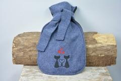 Wärmflasche steinblau Katzen