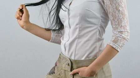 Damen Lederhose mit Bluse
